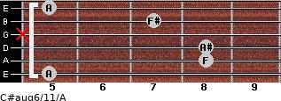 C#aug6/11/A for guitar on frets 5, 8, 8, x, 7, 5