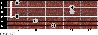 C#aug7 for guitar on frets 9, 8, 7, 10, 10, 7