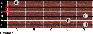 C#aug7 for guitar on frets 9, 8, 9, x, x, 5
