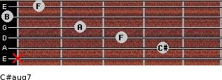C#aug7 for guitar on frets x, 4, 3, 2, 0, 1