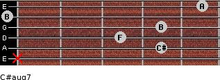 C#aug7 for guitar on frets x, 4, 3, 4, 0, 5