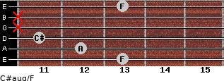 C#aug/F for guitar on frets 13, 12, 11, x, x, 13