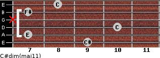 C#dim(maj11) for guitar on frets 9, 7, 10, x, 7, 8