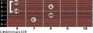 C#dim(maj13)/E for guitar on frets x, 7, 8, 6, 8, 6