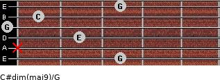 C#dim(maj9)/G for guitar on frets 3, x, 2, 0, 1, 3