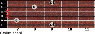 C#dim for guitar on frets 9, 7, x, x, 8, 9