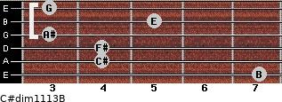 C#dim11/13/B for guitar on frets 7, 4, 4, 3, 5, 3