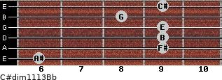 C#dim11/13/Bb for guitar on frets 6, 9, 9, 9, 8, 9