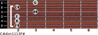 C#dim11/13/F# for guitar on frets 2, 2, 2, 3, 2, 3