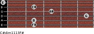 C#dim11/13/F# for guitar on frets 2, 2, 5, 3, 2, 0