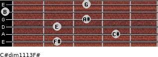 C#dim11/13/F# for guitar on frets 2, 4, 2, 3, 0, 3