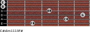 C#dim11/13/F# for guitar on frets 2, 4, 5, 3, 0, 0