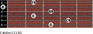 C#dim11/13/G for guitar on frets 3, 4, 2, 3, 0, 2