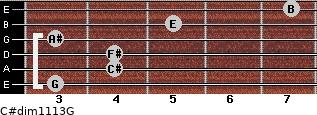 C#dim11/13/G for guitar on frets 3, 4, 4, 3, 5, 7