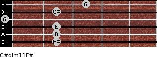 C#dim11/F# for guitar on frets 2, 2, 2, 0, 2, 3