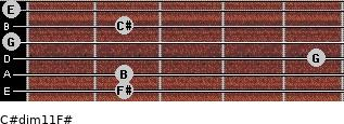 C#dim11/F# for guitar on frets 2, 2, 5, 0, 2, 0