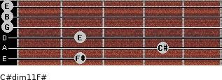 C#dim11/F# for guitar on frets 2, 4, 2, 0, 0, 0