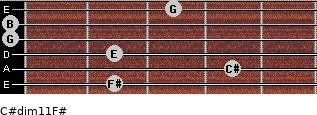 C#dim11/F# for guitar on frets 2, 4, 2, 0, 0, 3