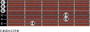 C#dim11/F# for guitar on frets 2, 4, 4, 0, 0, 0