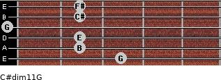 C#dim11/G for guitar on frets 3, 2, 2, 0, 2, 2