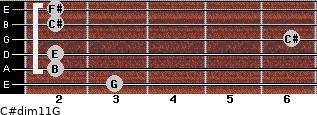 C#dim11/G for guitar on frets 3, 2, 2, 6, 2, 2