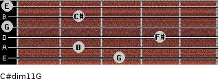 C#dim11/G for guitar on frets 3, 2, 4, 0, 2, 0