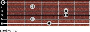 C#dim11/G for guitar on frets 3, 2, 4, 4, 2, 0