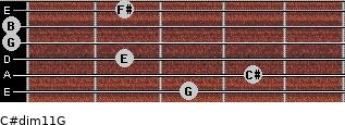C#dim11/G for guitar on frets 3, 4, 2, 0, 0, 2