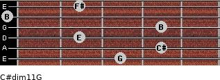 C#dim11/G for guitar on frets 3, 4, 2, 4, 0, 2