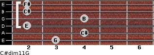 C#dim11/G for guitar on frets 3, 4, 2, 4, 2, 2