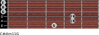 C#dim11/G for guitar on frets 3, 4, 4, 0, 0, 0