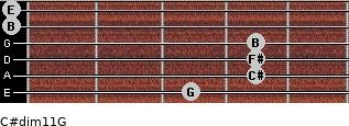 C#dim11/G for guitar on frets 3, 4, 4, 4, 0, 0