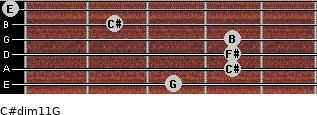 C#dim11/G for guitar on frets 3, 4, 4, 4, 2, 0