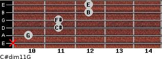C#dim11/G for guitar on frets x, 10, 11, 11, 12, 12