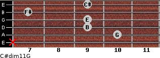 C#dim11/G for guitar on frets x, 10, 9, 9, 7, 9