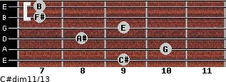 C#dim11/13 for guitar on frets 9, 10, 8, 9, 7, 7