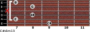 C#dim13 for guitar on frets 9, 7, 8, x, 8, 7