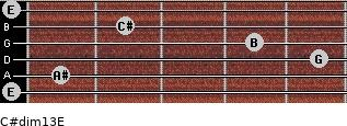 C#dim13/E for guitar on frets 0, 1, 5, 4, 2, 0