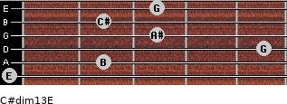 C#dim13/E for guitar on frets 0, 2, 5, 3, 2, 3