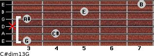 C#dim13/G for guitar on frets 3, 4, x, 3, 5, 7