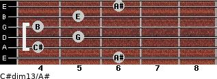 C#dim13/A# for guitar on frets 6, 4, 5, 4, 5, 6