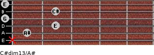 C#dim13/A# for guitar on frets x, 1, 2, 0, 2, 0