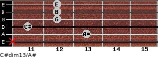 C#dim13/A# for guitar on frets x, 13, 11, 12, 12, 12