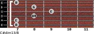C#dim13/B for guitar on frets 7, 7, 8, 9, 8, 7