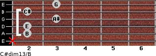 C#dim13/B for guitar on frets x, 2, 2, 3, 2, 3