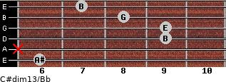 C#dim13/Bb for guitar on frets 6, x, 9, 9, 8, 7