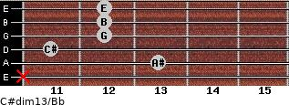 C#dim13/Bb for guitar on frets x, 13, 11, 12, 12, 12