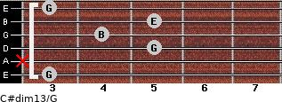 C#dim13/G for guitar on frets 3, x, 5, 4, 5, 3