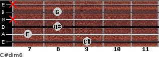 C#dim6 for guitar on frets 9, 7, 8, x, 8, x
