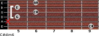 C#dim/6 for guitar on frets 9, x, 5, 6, 5, 6